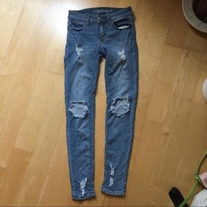 American eagle high rise stretchy distressed jeans